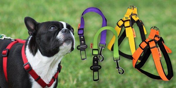 Nylonové postroje a zádržné pásy do auta pro psy