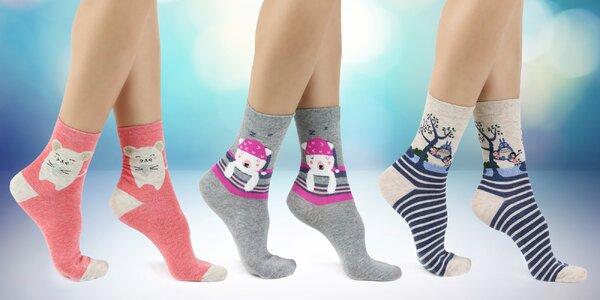 Dámské ponožky se zvířátky nebo třpytkami