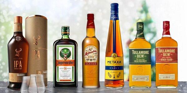 Jägermeister, whisky, Metaxa i karibský rum