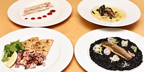 6chodové menu s rybími specialitami i kalamáry