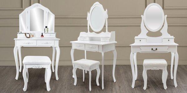 Bílé toaletní stolky se zrcadlem a stoličkou