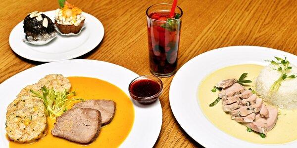 Výživné menu pro 2: polévka, hlavní chod i dort
