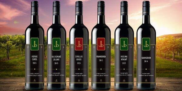 Kolekce 6 lahví vín ze Slovácka