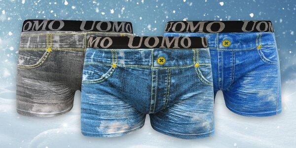 Chlapecké boxerky s džínovým potiskem