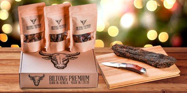 Vánoční balíčky: sušené maso Biltong i lovecký nůž