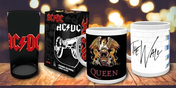 Dárky s motivy Queen, AC/DC, Metallica a další