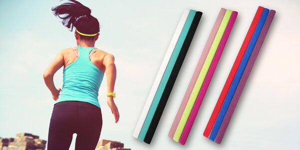 Sada 3 ks sportovních čelenek v různých barvách