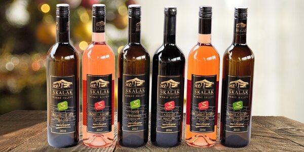 Sada 6 vín Skalák: červená, bílá a růžová