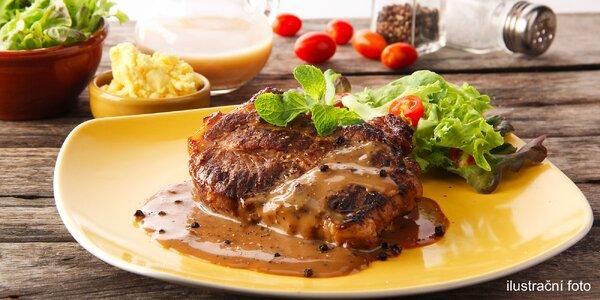 Dva steaky s volbou druhu masa, omáčky i přílohy