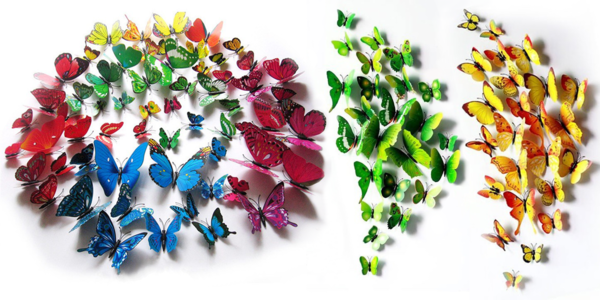 Magnetičtí a nalepovací 3D motýlci ve 4 barvách