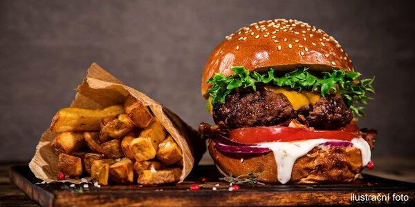 Hovězí Royal burger s domácími hranolky a dipem