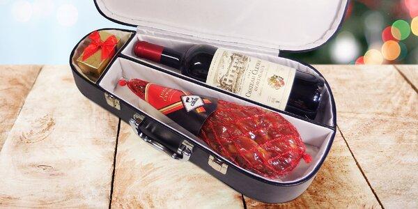 Dárkové balení: sušená kýta, víno a pralinky