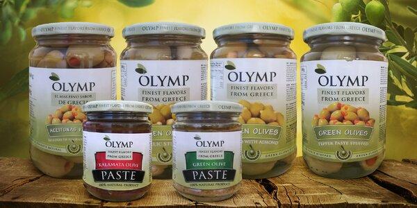 Dobroty z Řecka: Kalamata i zelené olivy a pasty