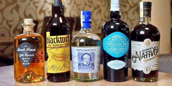 Degustace pěti třtinových rumů a pohoštění