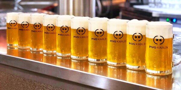 Metr piv v karlínské restauraci s minipivovarem
