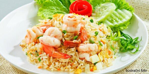 Rýže Cơm Rang Tôm nebo nudle Pho Xao Bo