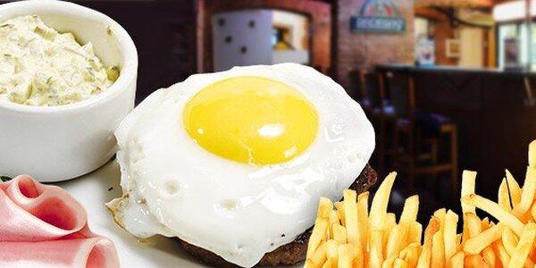 199 Kč za DVĚ hovězí roštěné se šunkou a sázeným vejcem a DVĚ přílohy.