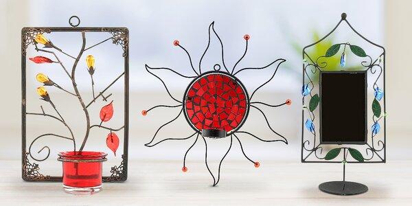 Svícny na stěnu: slunce, obdélník i zrcadlo