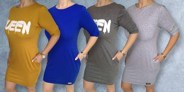 Dámské šaty s 3/4 rukávem: černé, modré i šedé