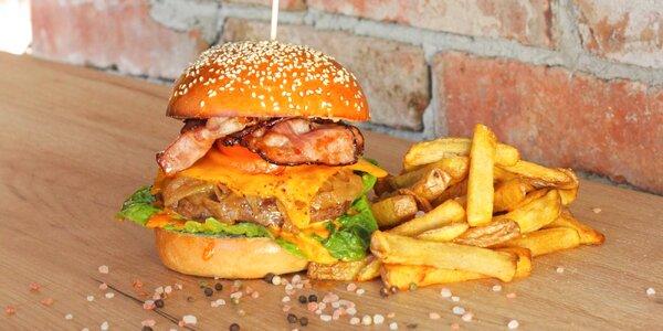 Burger podle výběru a hranolky pro jednoho i dva