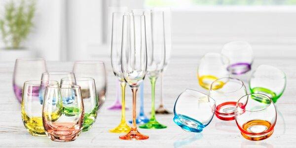 Sady 6 barevných sklenic Bohemia Crystal