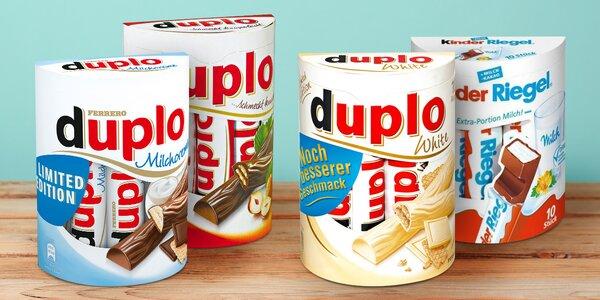 Čokoládové tyčinky Ferrero Duplo a Kinder