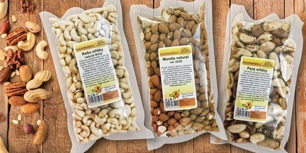 Půlkilová balení ořechů: para, kešu i mandle