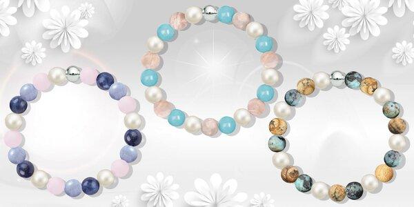 Náramky z přírodních kamenů s perlami Swarovski