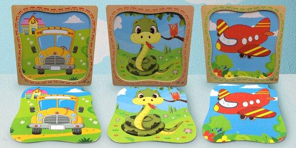 Puzzle pro nejmenší: letadlo, opice i žirafa