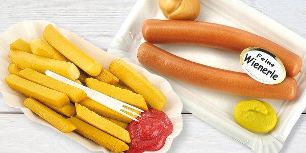 Originální marcipán: špekáček, hranolky i kuře