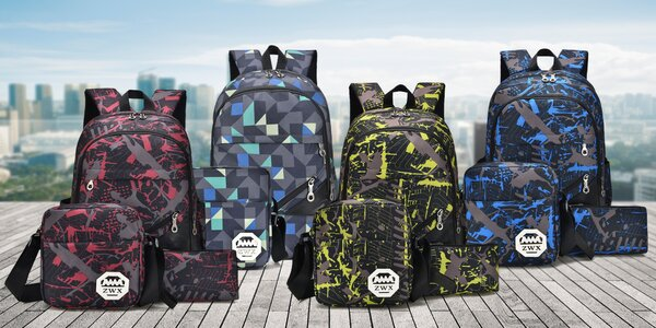 Designový set batohu, tašky a pouzdra: 4 barvy