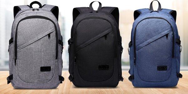 Chytrý batoh s USB portem a zámkem: 3 barvy