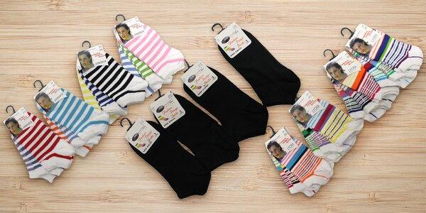 Dámské kotníkové ponožky: 12 párů s různými vzory