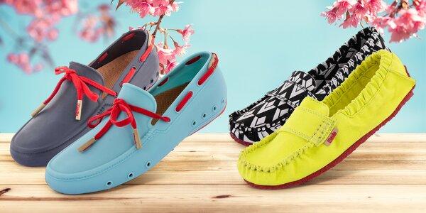 Letní obuv Mocks v textilním i gumovém provedení