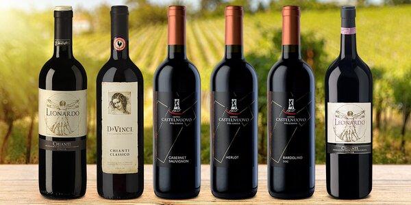 Suchá červená vína z Itálie i s dárkovými tubusy