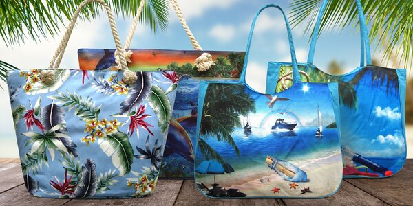 Plážové tašky s letními vzory delfínů i lodiček