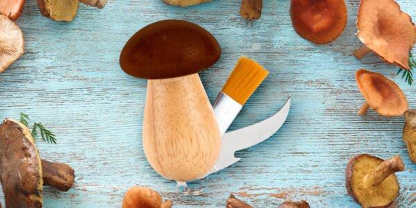 Dřevěný houbařský nůž ve tvaru hříbku se štětečkem