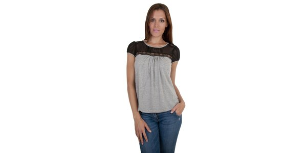 Dámské světle šedé melírované tričko Relish s krajkou