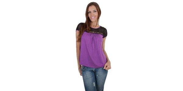 Dámské purpurové tričko Relish s krajkou