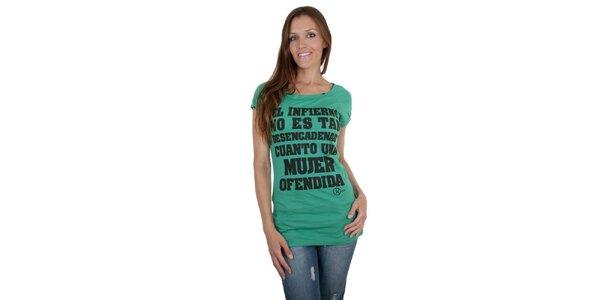 Dámské zelené tričko Relish s černým potiskem