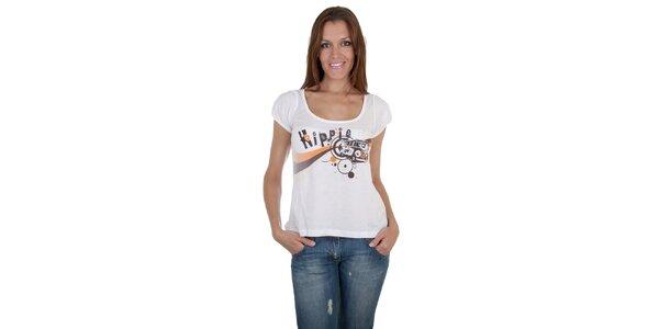 Dámské bílé tričko Relish s potiskem