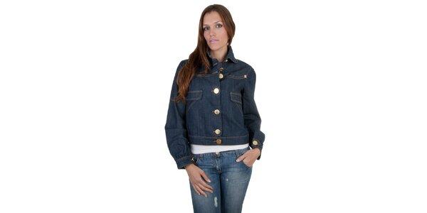 Dámská tmavě modrá džínová bunda Relish s velkými zlatými knoflíky