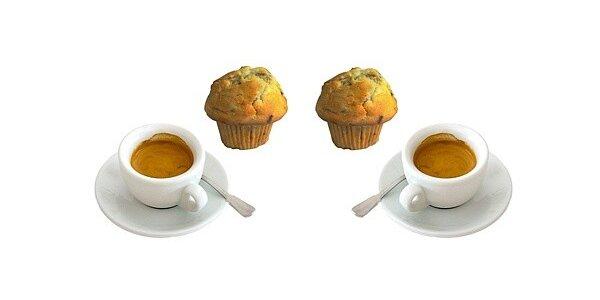 Dvě kávy a 2 ks muffinů