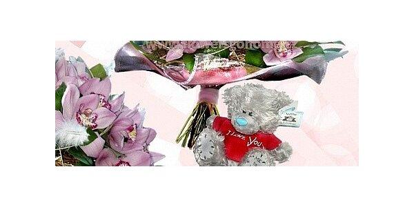 Valentýnská kytice z Orchidejí + medvídek