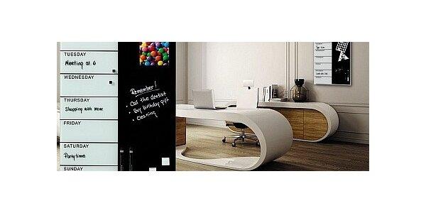 Skleněný magnetický týdenní plánovač 40x60 cm