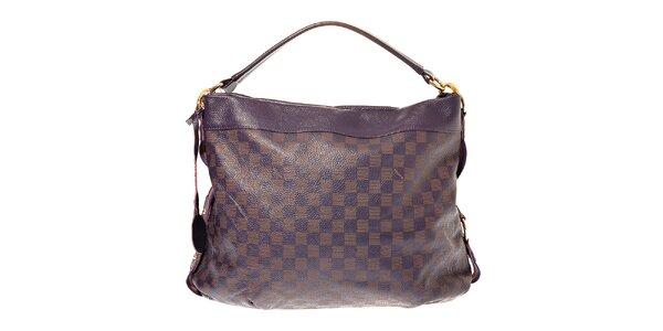Dámská tmavě fialová kožená kabelka Hope s motivem šachovnice