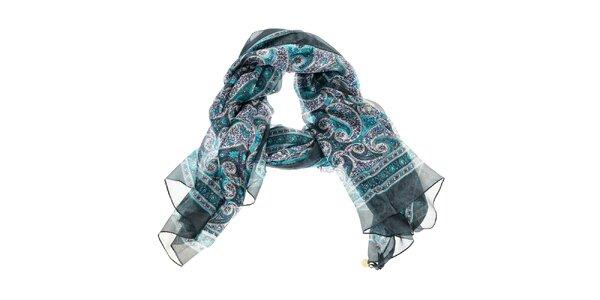 Dámský tyrkysově modrý hedvábný šál Azul