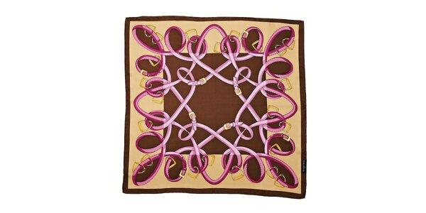 Světle hnědý hedvábný šátek Fraas s jezdeckým motivem