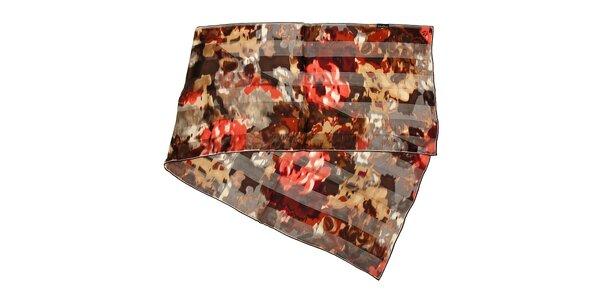 Tmavě hnědý hedvábný šál s abstraktním vzorem