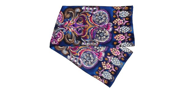 Tmavě modrý hedvábný šál s motivem kapradin